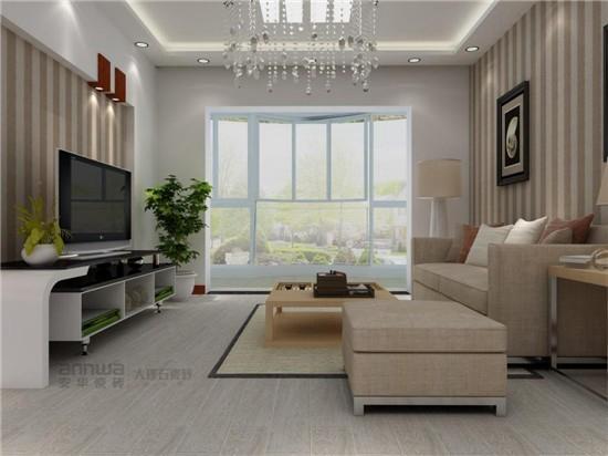 """不可不知的客厅风水之装修禁忌 客厅作为重要的活动场所,光线一定要充足。古人有云""""厅明室暗"""",明亮的客厅能带来家运旺盛,所以客厅壁面也不宜选择太暗的色调。安华瓷砖的这款装饰效果图中,大面积的落地窗为客厅带来了充足的阳光,让整个客厅都享受阳光的洗礼,就连人也会变得豁然开朗。"""