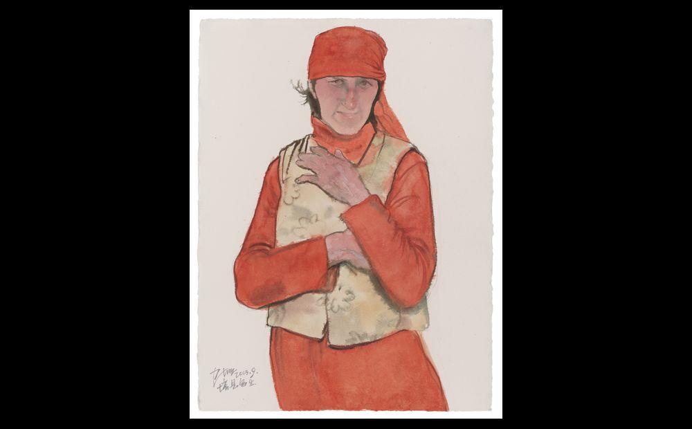 穿红衣的塔吉克女人 纸上作品76×56cm  2013年