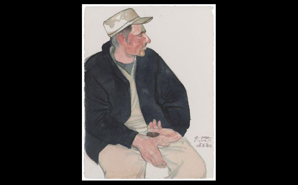瓦恰乡的人物写生 纸上作品76×56cm 2013年