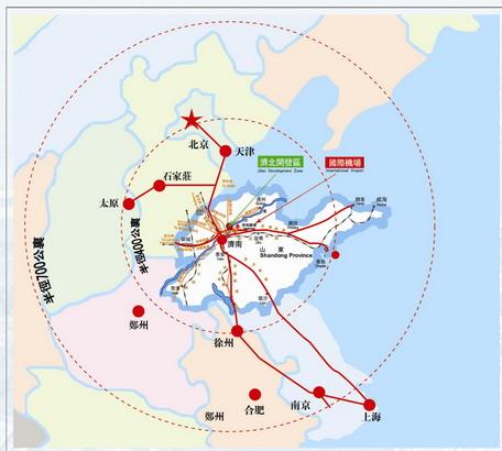 济南到天津的地图