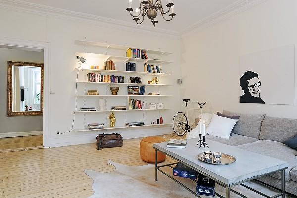 北欧传统现代混搭公寓  条纹地板营造的简约空间