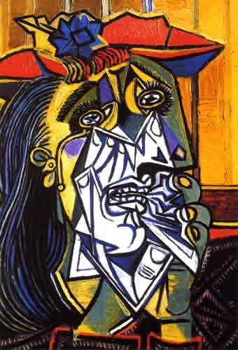 毕加索 油画 《哭泣的女人》