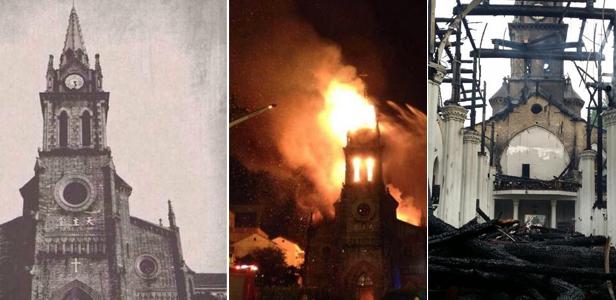 宁波老外滩百年历史天主教堂着火