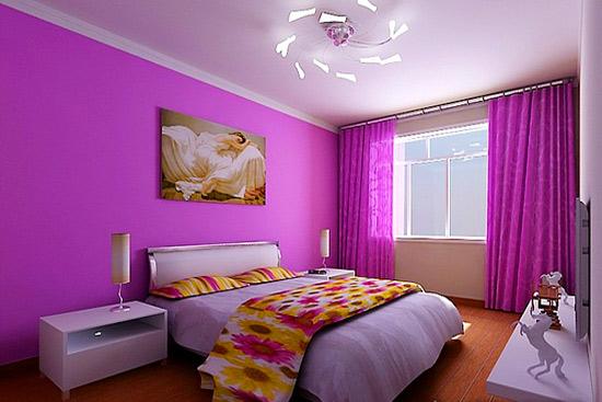 东西朝向的房间在夏天的时候往往会被太阳烤得火热,使用紫色既能够减低热度,又能够保持暖意,也是一种不错的墙面颜色。 编辑点评:并不是说刷上暖色调的涂料就能完全抵御冬天的严寒,而是从视觉上给人以温暖的感受,这在一定程度上能降低对寒冷的感知,也是一种比较舒适的视觉体验。