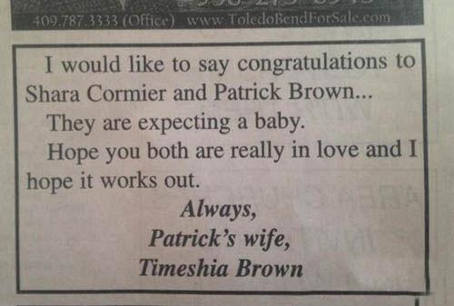 女子登广告祝贺老公与小三产子 专家:是好事