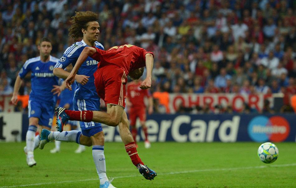 北京时间2012年5月20日凌晨02:45,德国慕尼黑安联球场,11/12欧冠联赛决赛,拜仁慕尼黑Vs切尔西。穆勒头球破门瞬间。