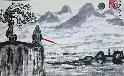 歪果仁画的中国水墨画:龙猫黑武士乱入