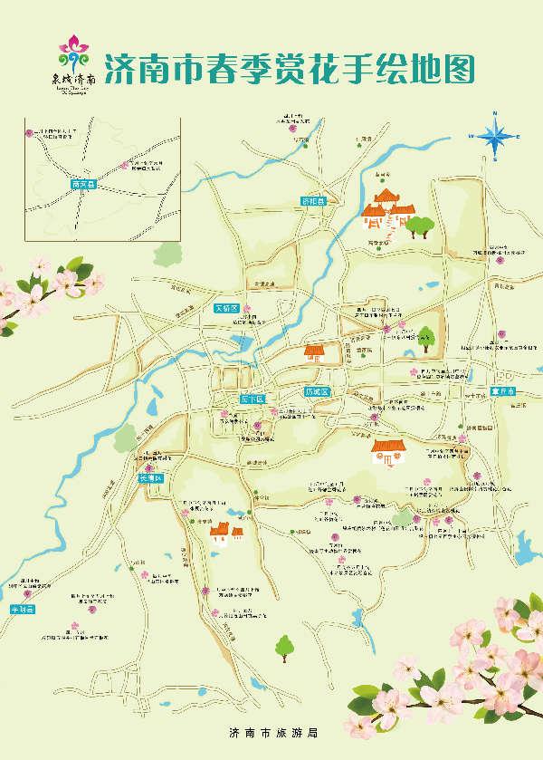 济南春季赏花手绘地图公布