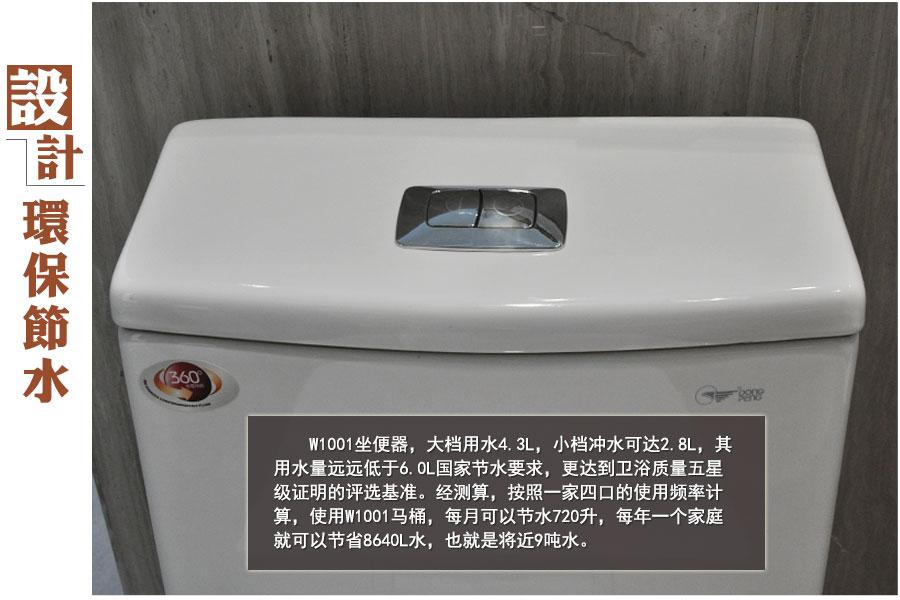 按照一家四口的使用频率计算,使用W1001马桶,每月可以节水