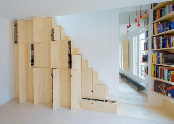 让小空间变大空间的收纳魔法 楼梯墙神奇置物柜