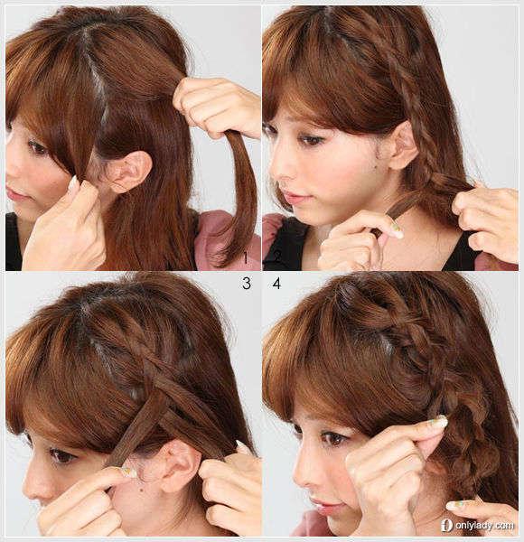 How to do: 1、保留齐刘海,将头发分成两等分。 2、分别从耳朵两侧上方抽取同等发束,从发根开始编三股麻花辫样式。 3、在编发过程中从发束旁取一股发束添加进编发内,形成四股发辫样式。 4、编至发尾用发圈绑紧,并用手拉扯麻花辫发丝,使之呈自然蓬松的松散状。
