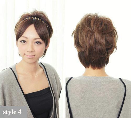 4——国际范中分扎发 style 4——中分的短发扎图片