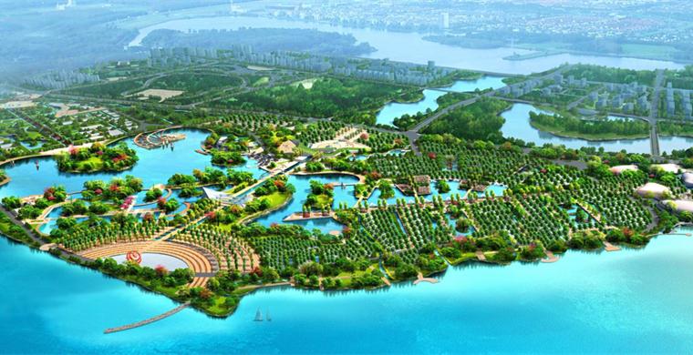 大沽河堤内水景观鸟瞰图