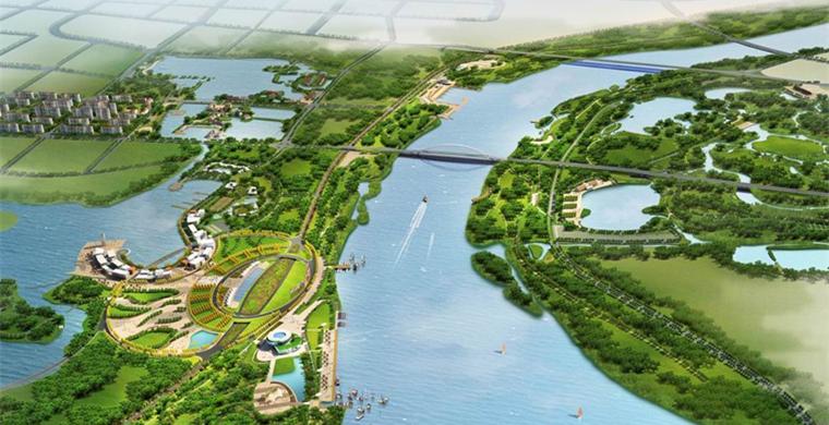 大沽河河道鸟瞰图