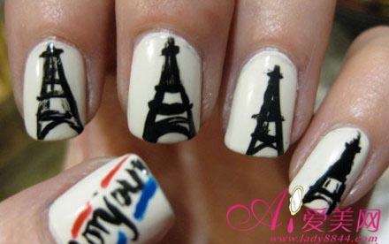 艺术的巴黎铁塔美甲,是不是很多女生都觉得巴黎是她一生中的梦想地呢!