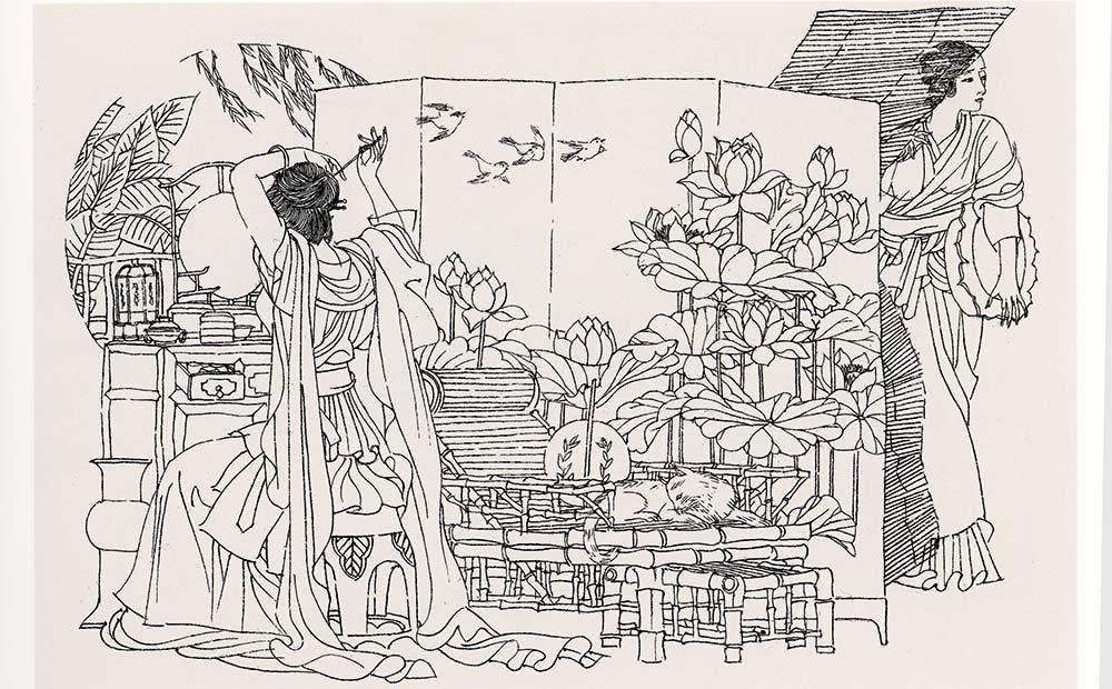 高云1984年(28岁)连环画作品《罗伦赶考》获第六届全国美术作品展览金奖。图为罗伦赶考之二。