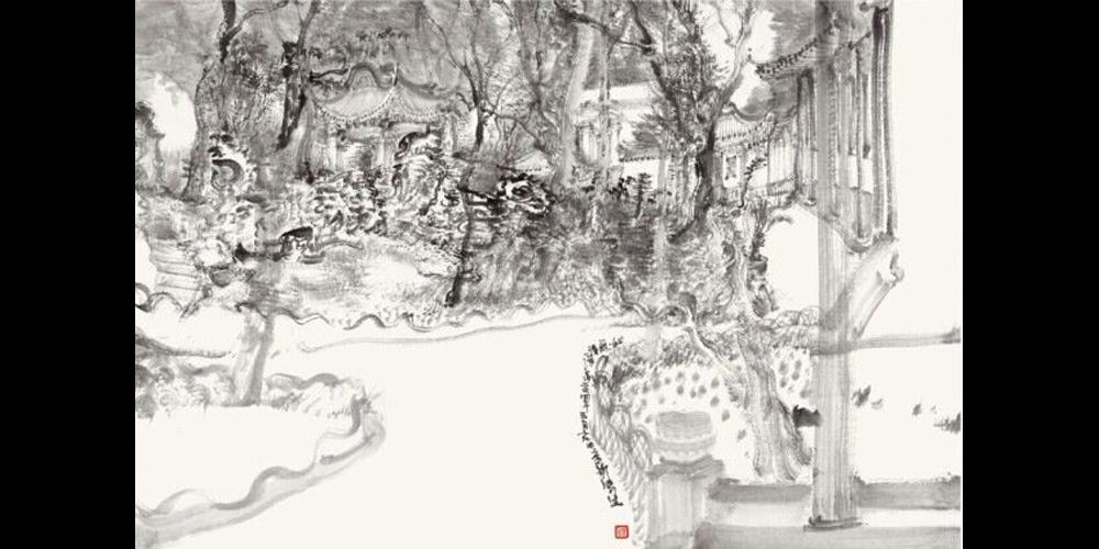 周京新-《沧浪亭写生》58x86cm-纸本水墨-2014年