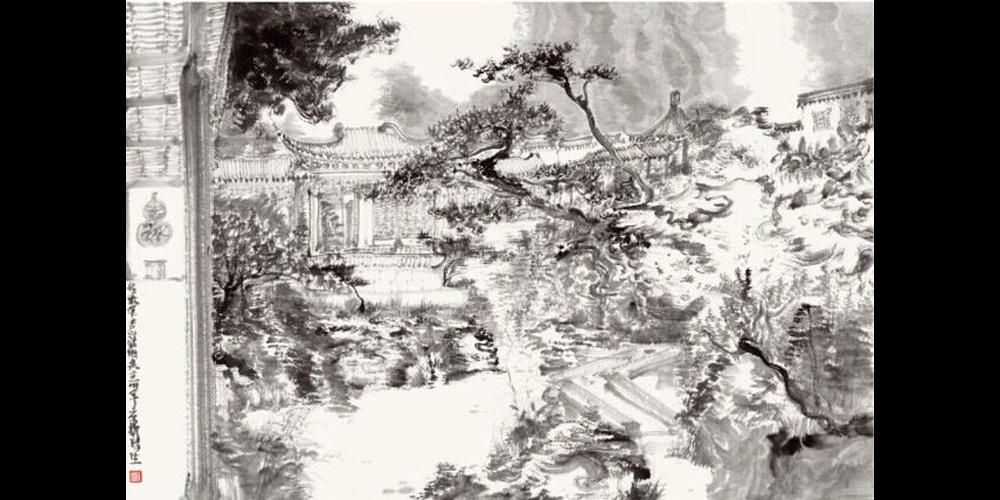 周京新-《环秀山庄写生之二》58x86cm-纸本水墨-2014年