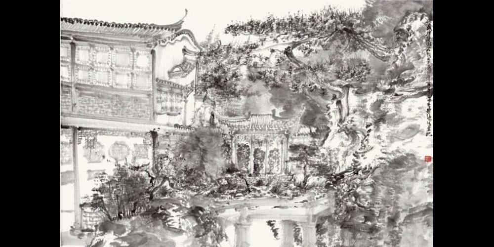 周京新-《环秀山庄写生之三》58x86cm-纸本水墨-2014年