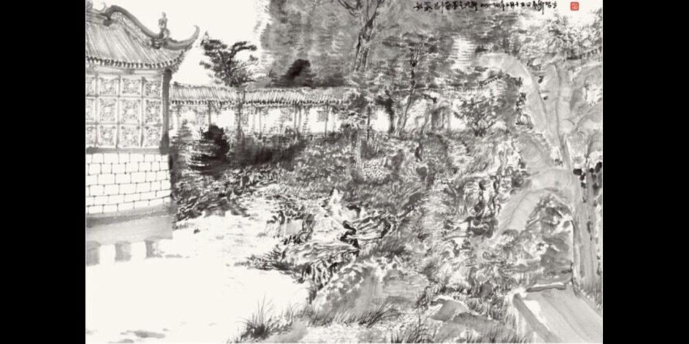 周京新-《南园写生》58x86cm-纸本水墨-2014年