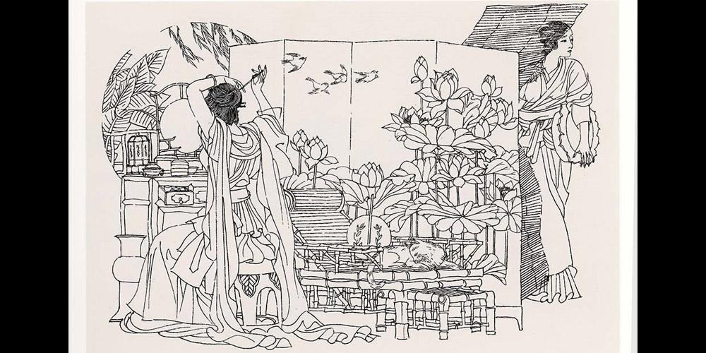高云1984年(28岁)连环画作品《罗伦赶考》获第六届全国美术作品展览金奖。图为罗伦赶考之二