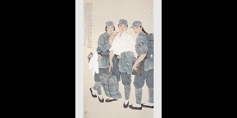 还记得我们吗——纪念新四军建军七十周年·195cmx115cm(获全国美展提名奖,被中国美术馆收藏)