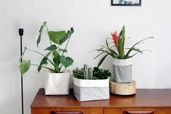 给盆栽换装 自制清新布艺花盆