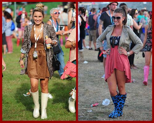 裙装+外套+雨靴可爱的女生喜爱选择一双鲜艳的雨靴配搭同...