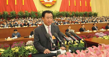 """2008年王健林参加全国""""两会""""大会发言"""