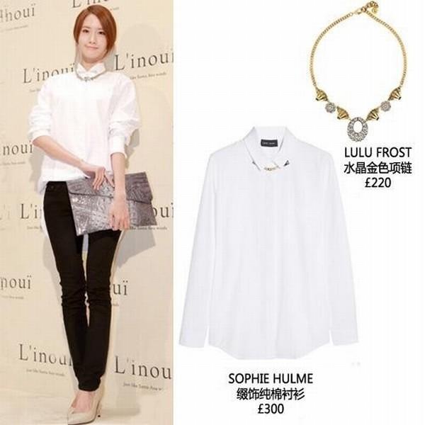 白衬衫+紧身牛仔裤+高跟鞋+动物纹手拿包+项链,允儿身穿时尚百搭