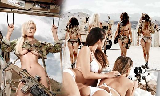 大胸美女军营驾战车试射重型武器