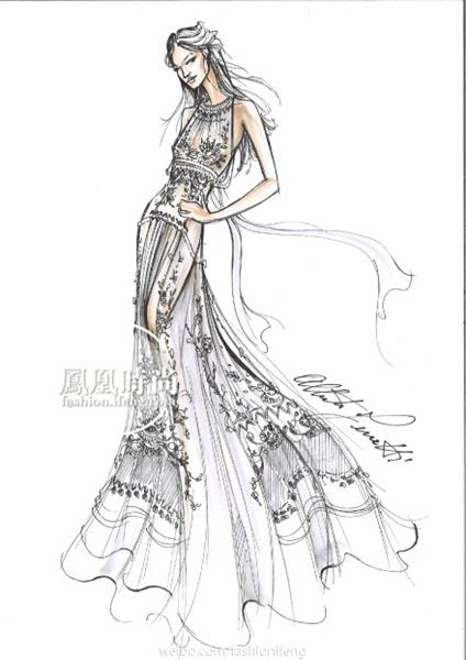 alberta ferretti女士为高圆圆设计的礼服手稿 今天的婚礼派对上图片