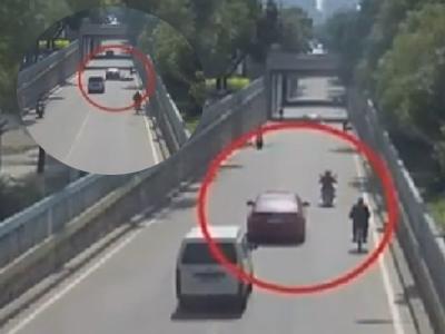 监控:女司机嫌电动车主挡路 加速将其撞死