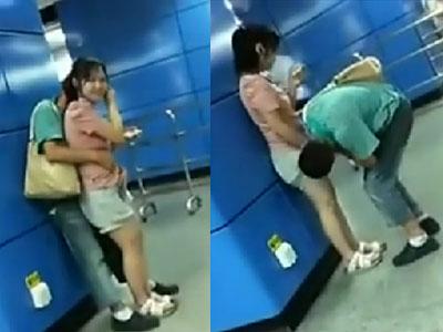 广州地铁不雅一幕 男子当众掀女友裙子