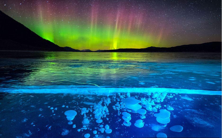"""加拿大亚伯拉罕湖冰封气泡 北极光映衬下异常美丽"""""""