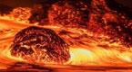 近距离拍摄喷发火山 岩浆汹涌如地狱一般