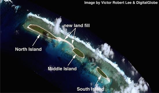 美媒:中国南海开始新填海工程 要把3个岛填成1个