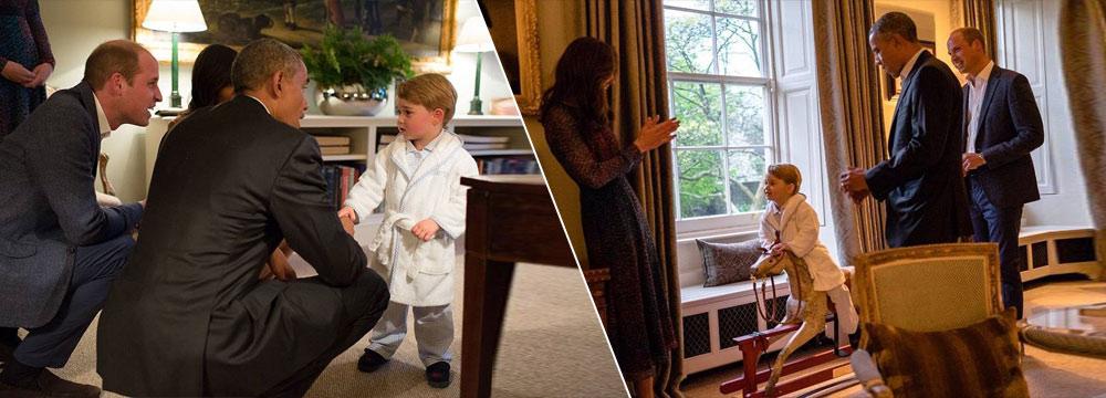 有点不知所措!乔治王子穿睡衣会见奥巴马 表情超萌