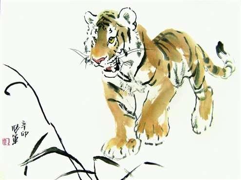 由山东美术出版社出版写意动物画法例举《虎的画法》,中国画自学丛书