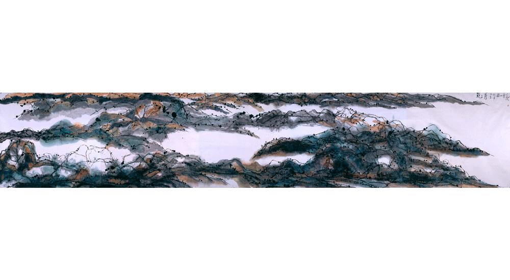 蒋山青 国画《兢秀》195cmx1020cm 2008年