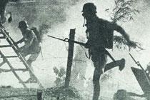 士兵跨越铁丝网追敌