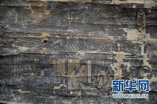 明代 唐伯虎《八景图》(局部)新华社记者 卢汉欣 摄