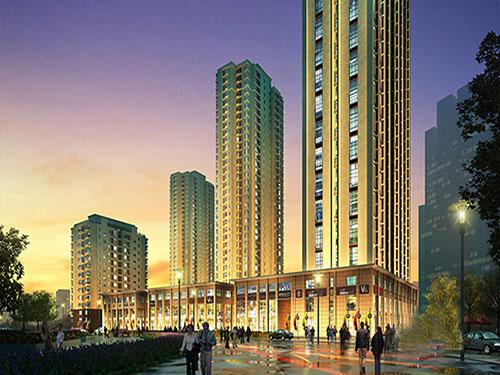 建筑外立面采用现代简约欧式风格,时尚与古典相结合,与周边建筑形成鲜