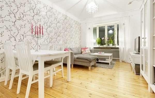 木纹地板搭配白色家具