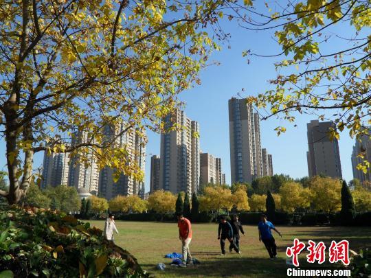图为孩子们在蓝天下奔跑. 刘明怡 摄-石家庄连日雾霾散去现蓝天 市民