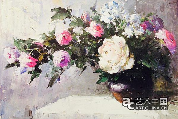 先生笔下的花卉,百花齐放,争奇斗艳,色彩鲜明,格调高雅.