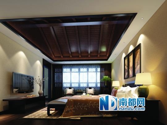 中式斜屋顶吊顶装修效果图