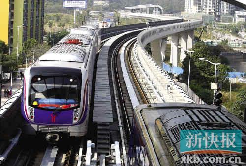 ■地铁6号线横沙站,一辆从浔峰岗站驶入横沙站的地铁列车。
