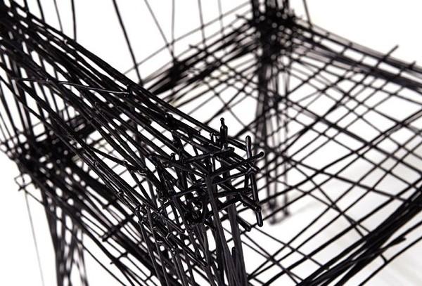 韩国设计师用素描涂鸦家具木材看似平面打造古代钢丝家具图片