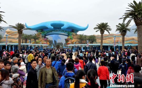 """全球最大海洋主题公园""""长隆海洋王国""""28日在珠海横琴试业,游客蜂涌图片"""